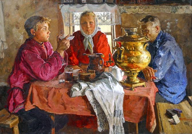 Чай в изобразительном искусстве и культуре России.